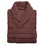 Linum Home Textiles Large/Extra-Large Herringbone Unisex Turkish Cotton Bathrobe in Plum