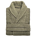 Linum Home Textiles Large/Extra-Large Herringbone Unisex Turkish Cotton Bathrobe in Olive