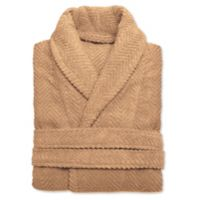 Linum Home Textiles Large/Extra-Large Herringbone Unisex Turkish Cotton Bathrobe in Sand