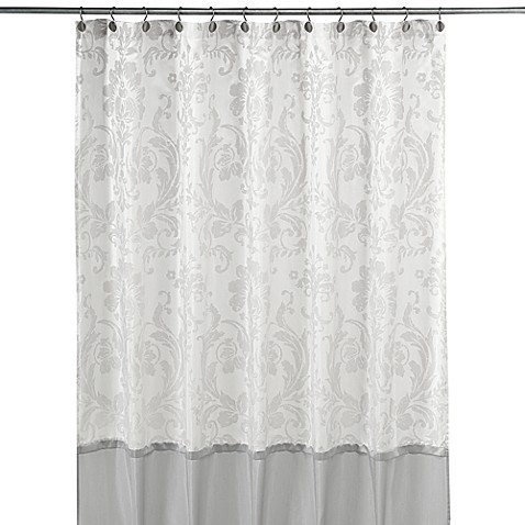 Delightful Rosewood Silver And White Fabric Shower Curtain By Nicole Miller