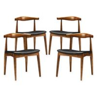 Modway Tracy Dining Side Chairs in Black (Set of 4)