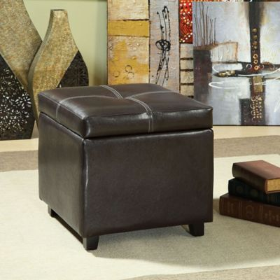 modway treasure vinyl storage cubeottoman in espresso