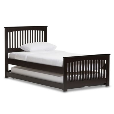 Hevea Solid Wood Twin Bed With Trundle In Wenge
