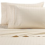 All Natural Cotton 500-Thread-Count Windowpane Queen Sheet Set in Natural