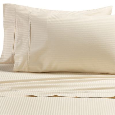 all natural cotton stripe full sheet set in natural - Thread Count Sheets