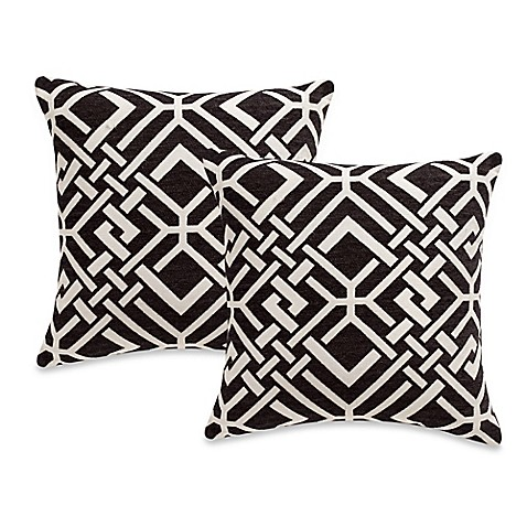 Black Throw Pillows Bed Bath And Beyond : Rayford Square Throw Pillows in Black (Set of 2) - Bed Bath & Beyond