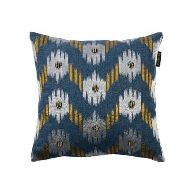 bombay ikat chevron square throw pillow in indigo