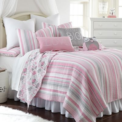 Incroyable Levtex Home Gillian Owl Reversible Full Quilt Set In Pink/Grey