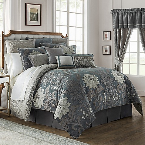 Waterford 174 Linens Ansonia Comforter Set In Pewter Bed