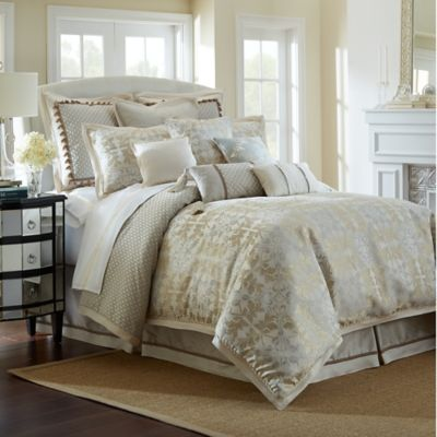 waterford linens olivette reversible queen comforter set in goldivory