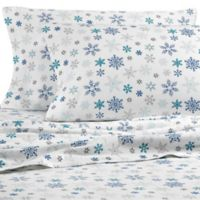 Eddie Bauer Tossed Snowflake Full Flannel Sheet Set