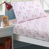 Levtex Home Gillian Owl Full Sheet Set in Pink/Grey