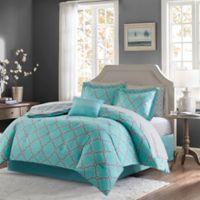 Madison Park Essentials Merritt 9-Piece Reversible King Comforter Set in Aqua/Grey