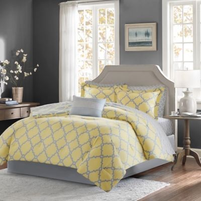 Buy yellow grey comforter from bed bath beyond for Gray and yellow bedroom