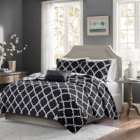 Madison Park Essentials Merritt 4-Piece Full/Queen Coverlet Set in Black