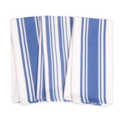 Center Band And Basket Weave Striped Kitchen Towels In Periwinkle (Set Of 3)
