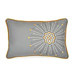 Seville Embroidered Starburst Oblong Throw Pillow in Grey