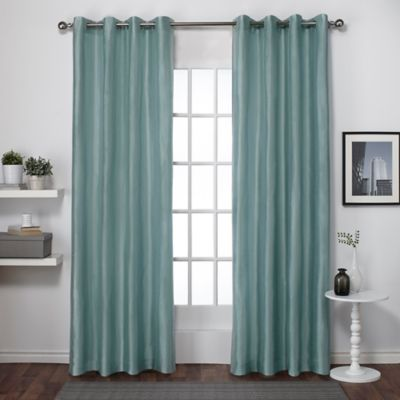 Exclusive Home Chatra 96 Inch Grommet Top Window Curtain Panel Pair In Seafoam