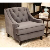 Abbyson Living Emily Velvet Arm Chair in Grey