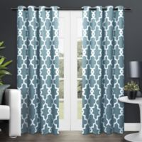 Exclusive Home Ironwork 84-Inch Room-Darkening Grommet Top Window Curtain Panel Pair in Teal