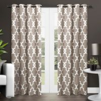 Exclusive Home Ironwork 84-Inch Room-Darkening Grommet Top Window Curtain Panel Pair in Taupe
