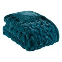 Madison Park Ruched Faux Fur Throw Blanket in Teal