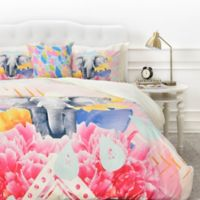DENY Designs Kangarui Elephant Festival King Duvet Cover in Pink