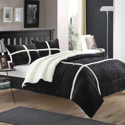 chic home camille queen comforter set in black