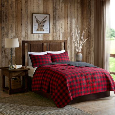 Woolrich® Check Full/Queen Reversible Quilt Set In Red/Black