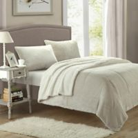 Chic Home Evelyn Queen 3-Piece Sherpa-Lined Blanket Set in Beige