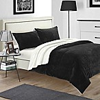 Chic Home Evelyn Queen 3-Piece Sherpa-Lined Blanket Set in Black