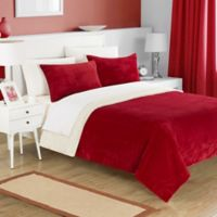 Chic Home Evelyn Twin XL 2-Piece Twin Sherpa-Lined Blanket Set in Burgundy