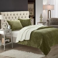 Chic Home Evelyn Queen 3-Piece Sherpa-Lined Blanket Set in Green