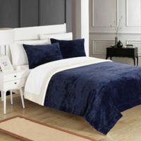 Chic Home Evelyn Queen 3-Piece Sherpa-Lined Blanket Set in Navy