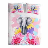 DENY Designs Kangarui Elephant Festival King Pillow Shams in Pink (Set of 2)