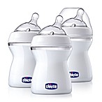 Chicco® NaturalFit® 3-Pack 0M + 8 oz. Wide Neck Slow Flow Bottle with Angled Nipple in Clear