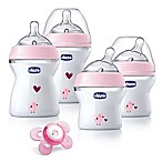 Chicco® NaturalFit® 5-Piece 0M + Wide Neck Slow Flow Bottle Gift Set in Pink Deco