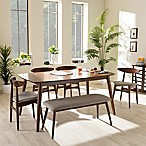 Baxton Studio Flora Wood 6-Piece Dining Set in Brown/Grey