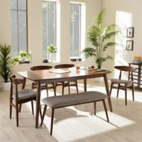 Wholesale Interiors Inc. Flora Wood 6-Piece Dining Set in Brown/Grey