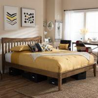 Edeline Slatted King Platform Bed in Walnut