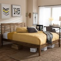 Daylan Slatted King Platform Bed in Walnut