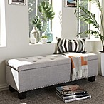 Hannah Fabric Bench in Dark Gray/Beige