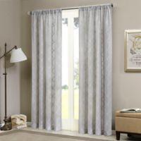 Madison Park Irina 84-Inch Rod Pocket Sheer Window Curtain Panel in Grey