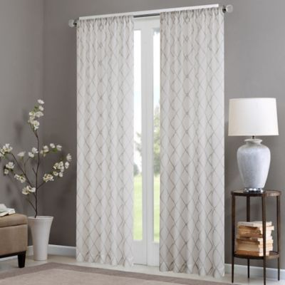 Madison Park Irina 95 Inch Rod Pocket Sheer Window Curtain Panel In White Grey