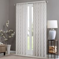 Madison Park Irina 84-Inch Rod Pocket Sheer Window Curtain Panel in White/Grey