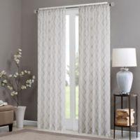 Madison Park Irina 95-Inch Rod Pocket Sheer Window Curtain Panel in White/Grey