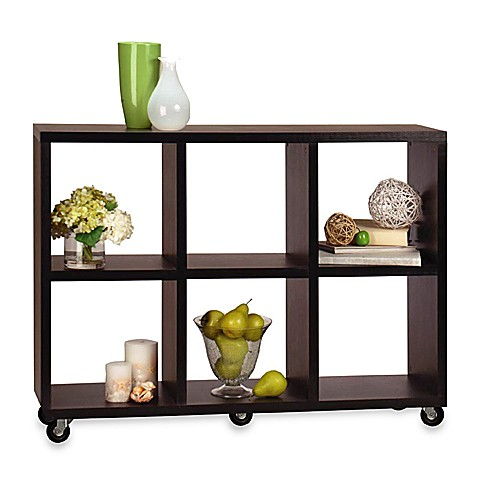 Mobile bookcase console table bed bath beyond for Console mobile