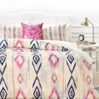DENY Designs Rosebudstudio Boho Mama Queen Duvet Cover in Pink/Navy