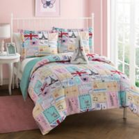 Bon Jour 3-Piece Reversible Twin Comforter Set in Pink/Spa