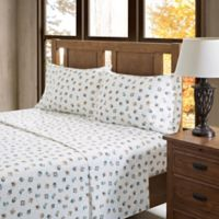 True North by Sleep Philosophy Owl Flannel Full Sheet Set in Sand